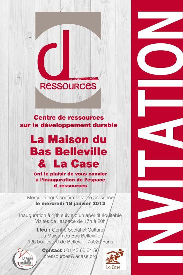 """Invitation à l'inauguration du Centre de ressources sur le développement durable """"D_Ressources"""""""